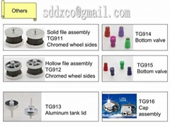 lighter parts: wheel/ bottom valve/ cap assembly