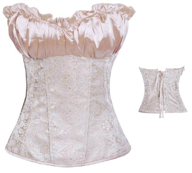 sexy lingerie satin ruffled jacquard corset 2