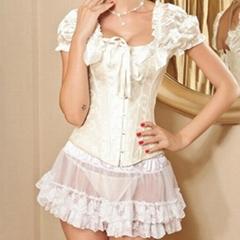 sexy lingerie retro satin puff sleeve bow corset