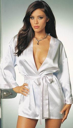 Women sexy satin nightgown kimono dressing robe bathrobe pajama lingerie  1