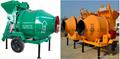 JZC350 portable concrete mixer and charging 350L volumetric cement mixer
