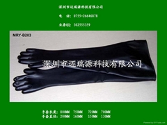 Butyl rubber long glovebox gloves