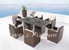 outdoor wicker/rattan 7pcs dining dining set