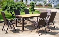 PE wicker/rattan dining set for garden