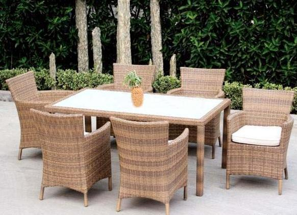 Outdoor Wicker Rattan Dining Set With Fabric Cushions
