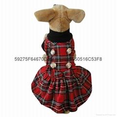 厂家批发供应 新款宠物衣服苏格兰格子花边裙
