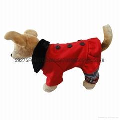 2015年新款宠物衣服时尚欧美风呢子四脚连体衣