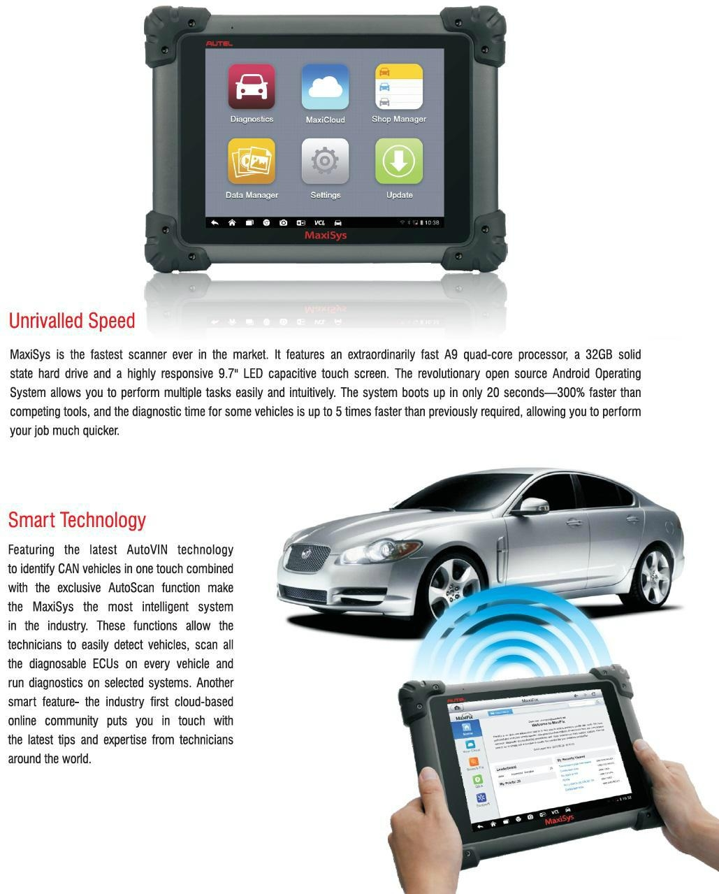 Autel MaxiSys MS908 Automotive Diagnostic Analysis System with LED Touch Display