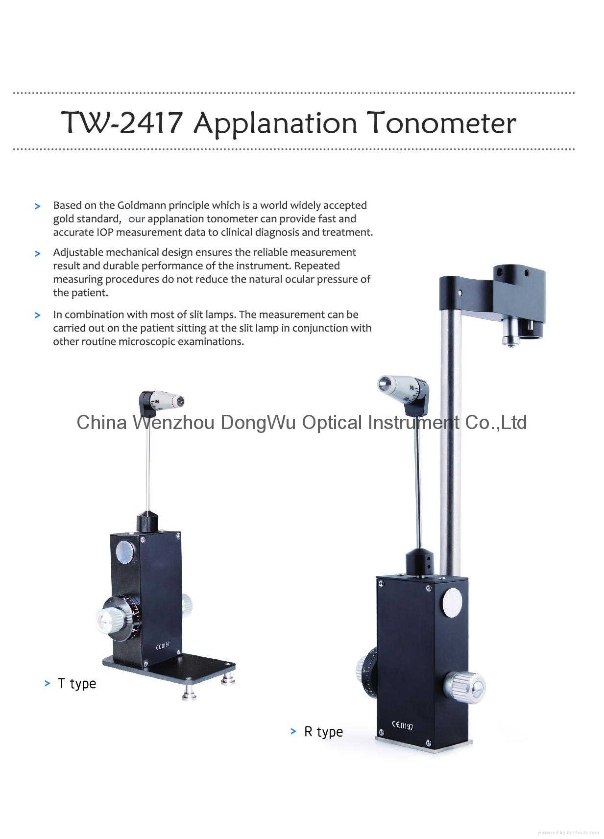 TW-2417 R /T type GOLDMANN Type Applanation Tonometer 1