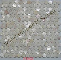 白色圓形貝殼馬賽克