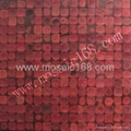 red color Coconut mosaic wood mosaic
