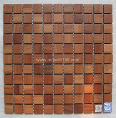wood mosaic floor wall panel