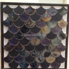 玻璃馬賽克陶瓷花磚混拼地板磚