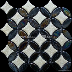 Ellipse ceramic glass mosaic flooring