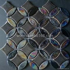 黑色窑变陶瓷马赛克混拼,黑色玻璃马赛克