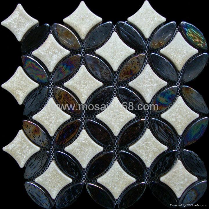 黑色窑变陶瓷马赛克混拼,黑色玻璃马赛克 3