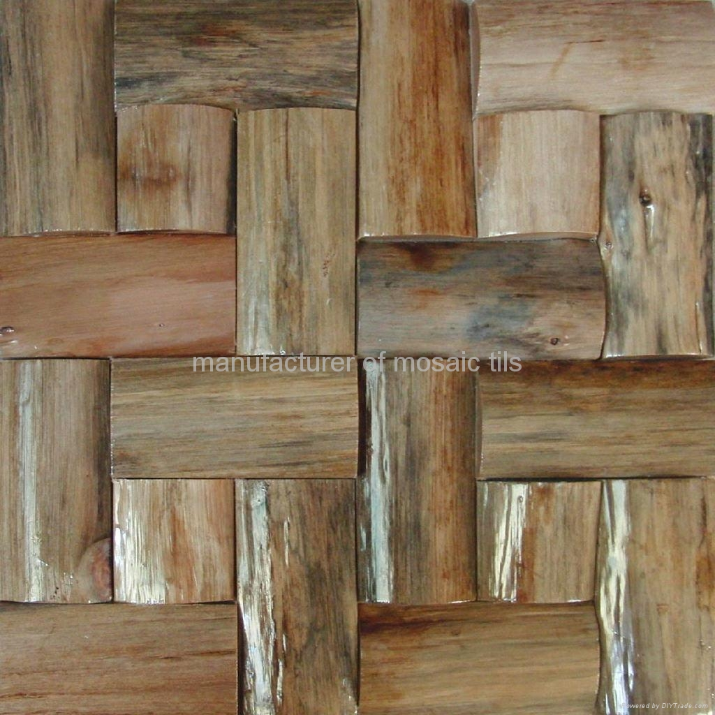 Superb img of Thick wood mosaic wall panels JH W03 Gimare (China Manufacturer  with #654A32 color and 1024x1024 pixels