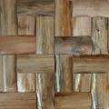 Thick wood mosaic wall panels