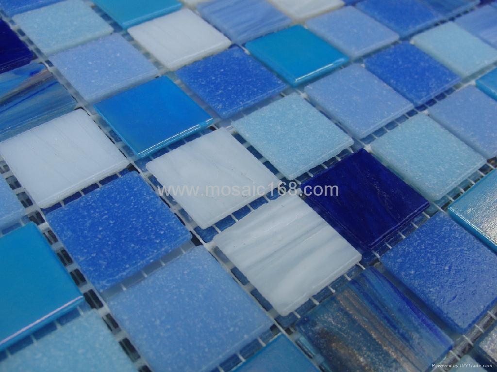 蓝色渐变玻璃马赛克拼花 1