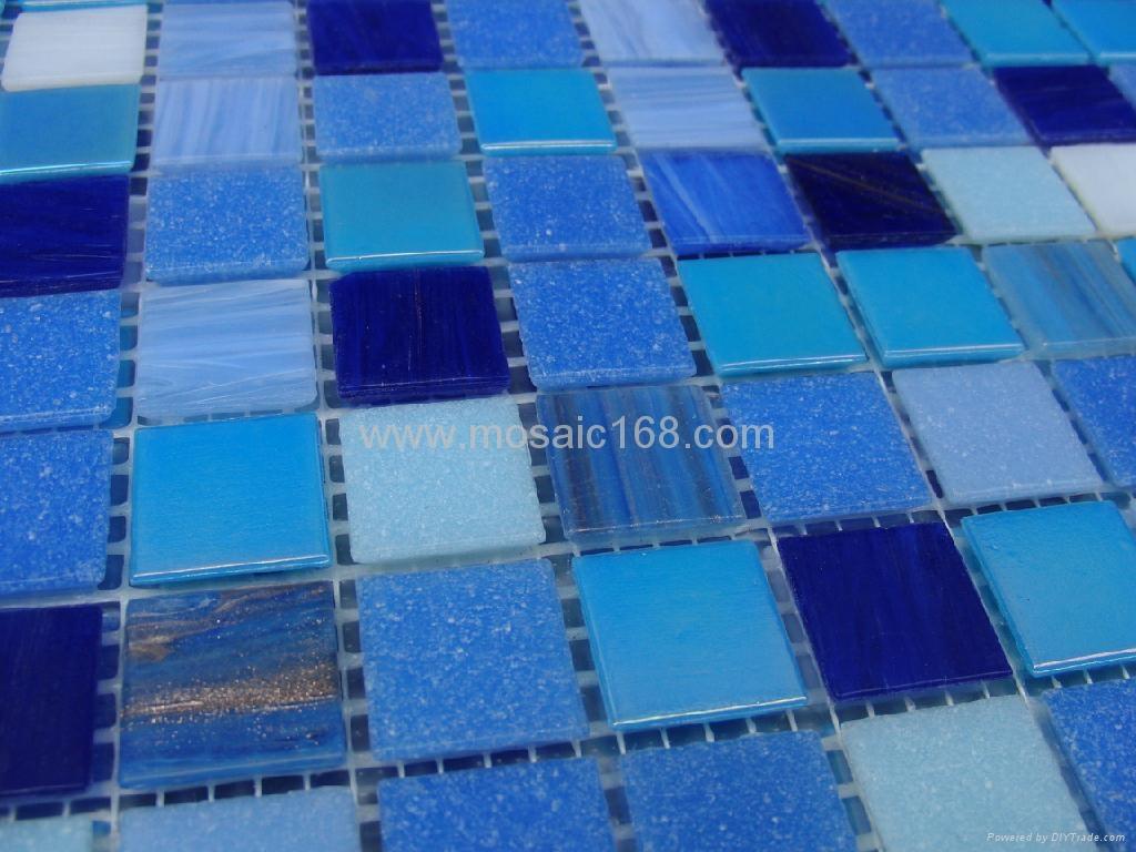 蓝色渐变玻璃马赛克拼花 4