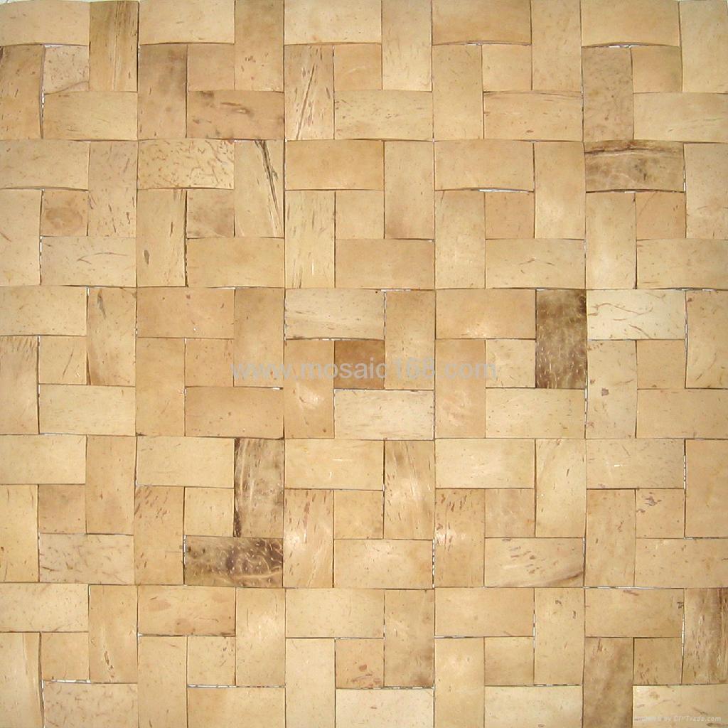 手工拼贴椰壳马赛克室内背景墙用 3