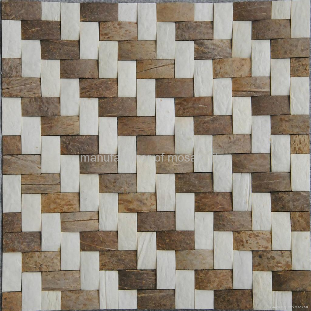 weave design coconut wall panels mosaic