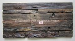 old ship wood mosaic wall panel