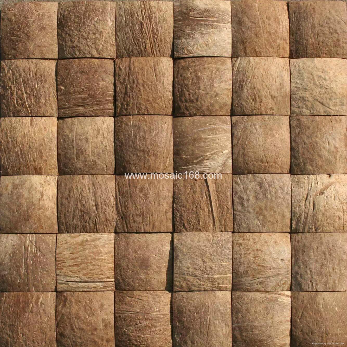 Brown Wall Paneling : Brown color coconut wall panels mosaic jh k