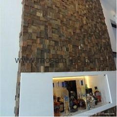 木头马赛克背景墙