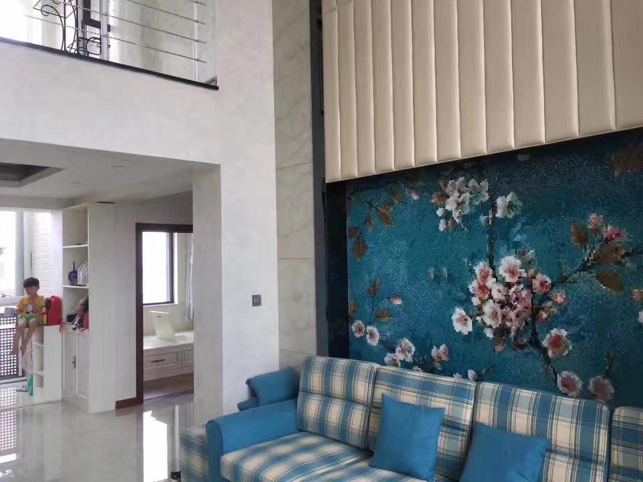 客厅背景墙玻璃马赛克拼花 1