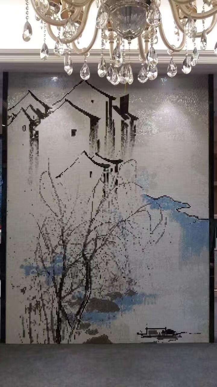 客厅背景墙玻璃马赛克拼花 13