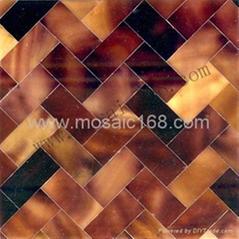 棕色貝殼牆面裝飾板馬賽克