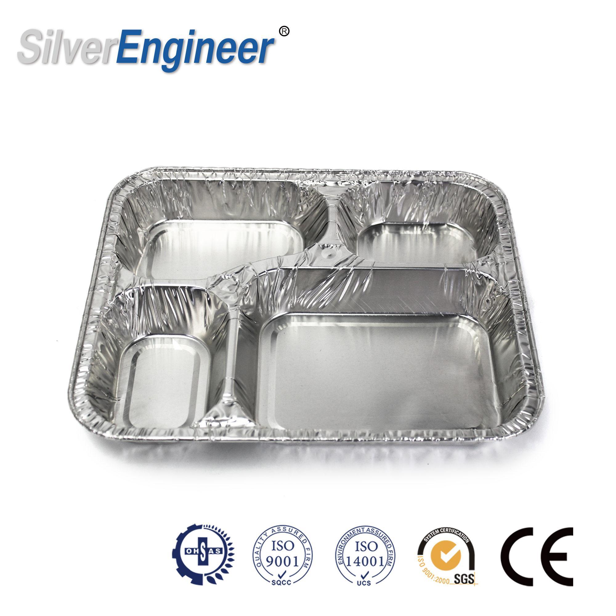 4-compartment aluminum foil container