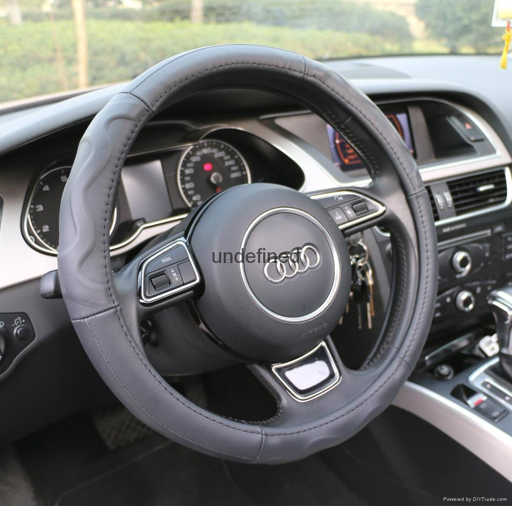 2018 new fashion design leather steering wheel cover 1