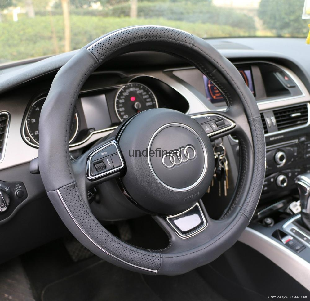 2018 new fashion design leather steering wheel cover 3