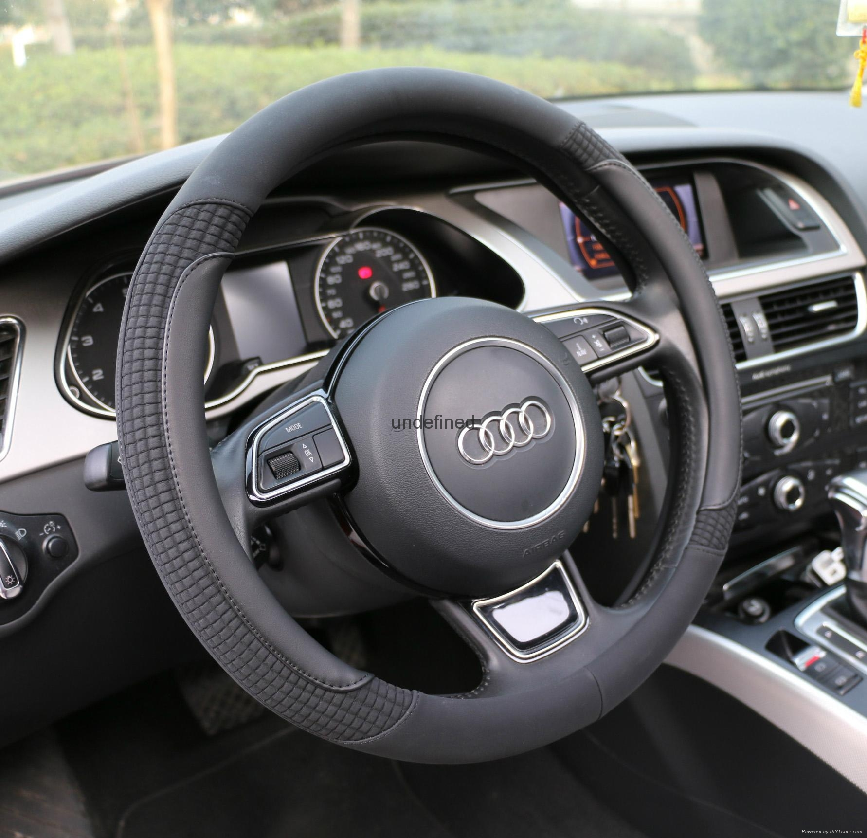 2018 new fashion design leather steering wheel cover 11