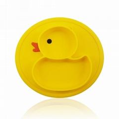 鴨子餐盤寶寶餐盤分格碗嬰儿一體式硅膠吸盤餐盤餐墊防摔儿童餐具