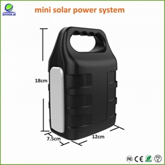 multifunctional mini solar power system with led light and cellphone charger