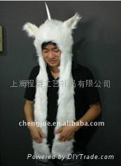 毛绒动物帽子
