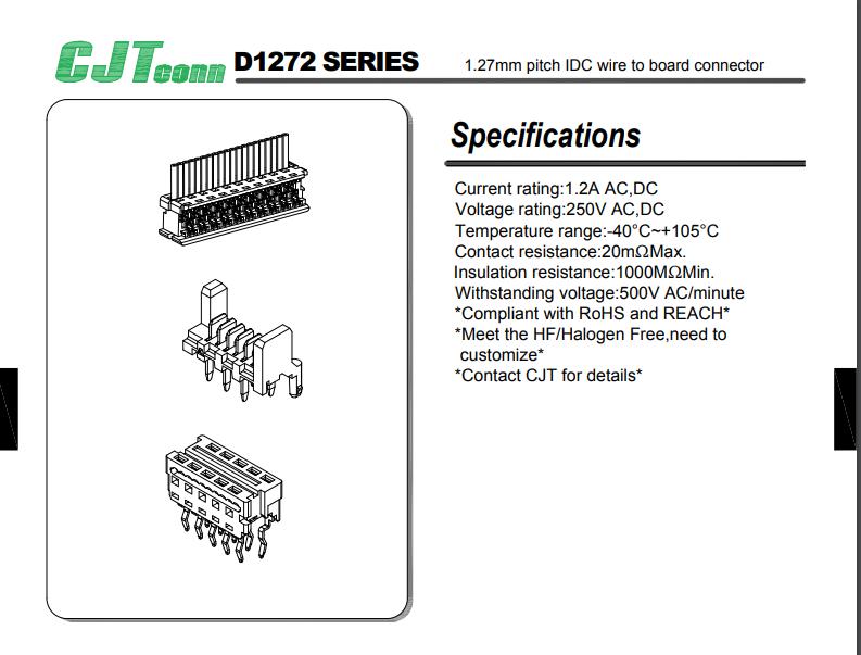1.27mm 厂家直销90327-0304 90327-0306 莫仕连接器同等品 IDC插座 长江连接器 2