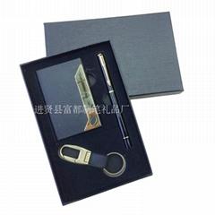 供應精美禮品套裝 穩重大氣商務鑰匙扣套裝 名片盒套裝禮品