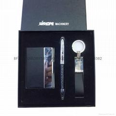 供應精美禮品套裝 穩重大氣商務鑰匙扣套裝 名片盒禮品套裝