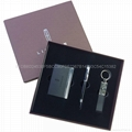 Leather key chain + PU card case, gift