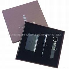 皮革鑰匙扣+PU名片盒+簽字筆商務禮品套裝