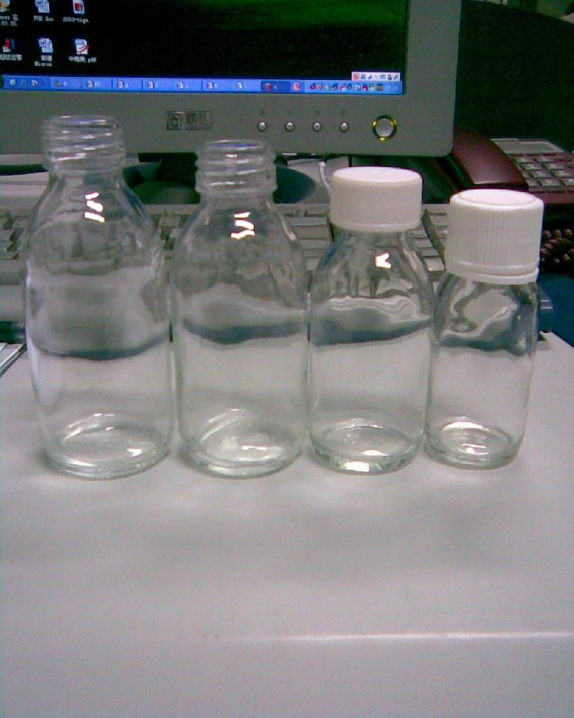 Clear glass bottle for syrup DIN PP 28MM 1