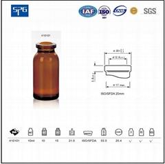 Amber moulded injection vial USP TYPE I,II.III