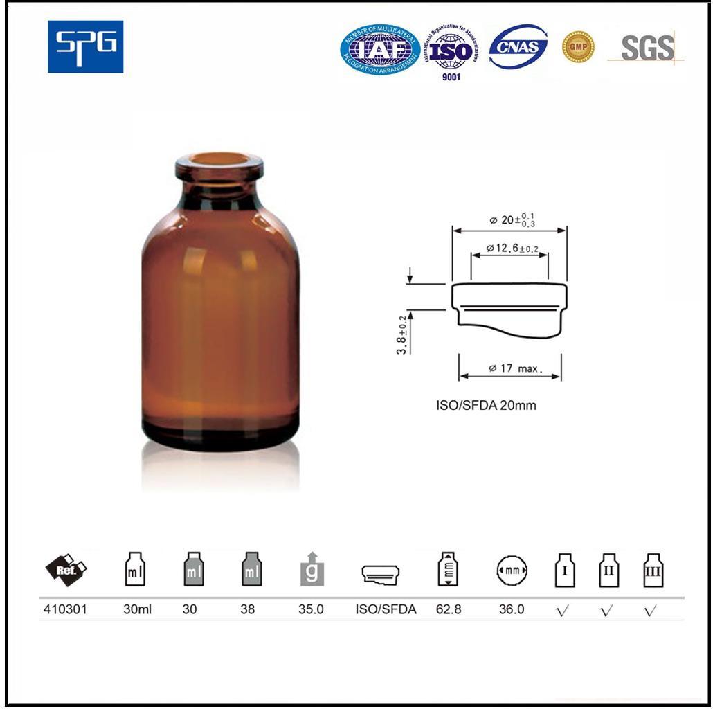 Amber moulded injection vial USP TYPE I,II.III 3