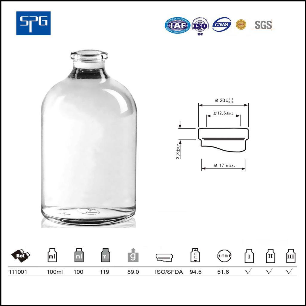 Clear moulded injection vial USP TYPE I,II,III 1
