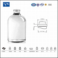 Clear moulded injection vial USP TYPE I,II,III
