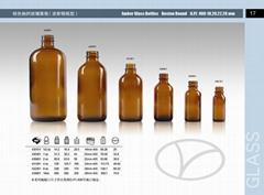 Amber glass bottle boston round